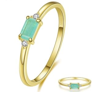 925 Silver Gold Plated Green Tourmaline Ring